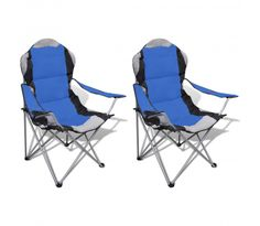 Folding Chair Set 2 pcs Camping Outdoor Chairs XXL with Bag Blue