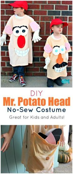 This No-Sew Mr. Potato Head Costume is so fun for dressing up and works for both…