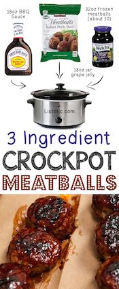3 Ingredients Crockpot Meatball Appetizer 12 Mind-Blowing Ways To Cook… Crock Pot Recipes, Crockpot Dishes, Crock Pot Cooking, Slow Cooker Recipes, Cooking Recipes, Crock Pots, Party Crockpot Recipes, Crockpot Ideas, Dishes Recipes