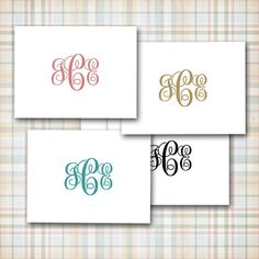 Classic Three Initial Monogram Note Cards by sferradesigns on Etsy