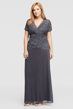 Plus Size Cap Sleeve Lace Bodice Mother of Bride/Groom Dress with Mesh Skirt - Charcoal, 16W