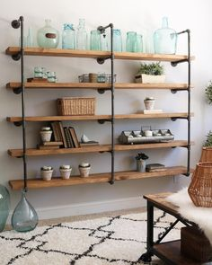 IY Industrial Pipe Shelves? What tools would you need to put one up this weekend? Photo by @jodie.thedesigntwin