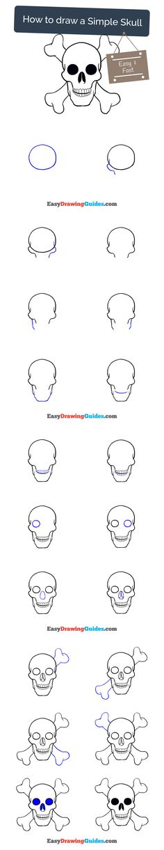 Learn How to Draw a Skull and Bones: Easy Step-by-Step Drawing Tutorial for Kids and Beginners. #skull #drawing. See the full tutorial at https://easydrawingguides.com/how-to-draw-a-skull/