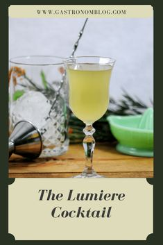 The Lumiere Cocktail with gin, green chartreuse and St. Germain Elderflower Liqueur, lime and bitters. Classic Gin Cocktails, Strong Cocktails, Gin Cocktail Recipes, Fun Cocktails, Cocktail Drinks, Cocktail Bitters, Cocktail Parties, Drink Recipes, St Germain Cocktail