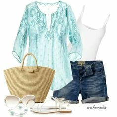 What a beautiful top. The color is really pretty too. I like that the shorts are just a bit longer than some.