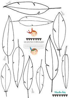 Planche de plumes à imprimer et découper pour jouer aux petits indiens !