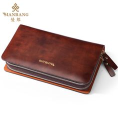 Guaranteed 100% + Genuine leather clutch wallets MB9290,Designer wallets +Famous brand Manbang + Free shipping $129.80