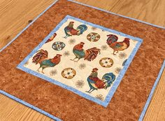 Rooster Table Topper, Chicken Table Topper, Blue Rust Table Topper, Chicken Decor, Country Decor, Farmhouse Table Decor, Farmhouse Topper Longarm Quilting, Machine Quilting, Everyday Table Decor, Cuddle Cat, Charm Square Quilt, Farmhouse Table Decor, Quilts For Sale, Quilted Table Runners, Snowman Ornaments