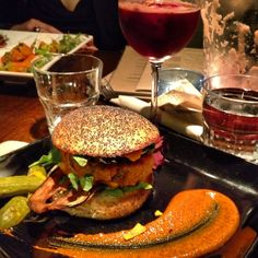Live Food Bar's Vegan Bacon Cheese Burger & Sangria by Christa Colle