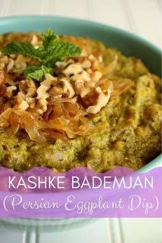 Kashke Bademjan is a Persian eggplant dip, served warm or at room temperature unlike many other eggplant dips (like baba ganoush) which are best served cold. It's a great way to spice up your eggplant game, and couldn't be easier to make! Vegetarian Appetizers, Appetizer Recipes, Vegetarian Recipes, Keto Recipes, Vegetable Recipes, Drink Recipes, Yummy Recipes, Iranian Dishes, Roasted Tomato Soup