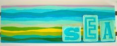 "Summer Kate Studio - Ceramic Tiles ""SEA"" clay letters on ceramic ©Kathleen Farrell, Summer Kate Studio"