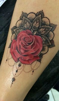Red Rose Flower Tattoo Ideas - Black Lace Chandelier Womens Tat - MyBodiArt.com