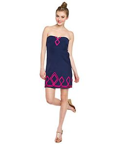 "Alice & Trixie ""Lydia"" Navy & Neon Pink Ribbon Trimmed Silk Dress"