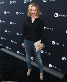 Leggy blonde: Country music singerBeverley Mitchell, 35, stepped out in light wash denim skinny jeans theat encased her slender stems