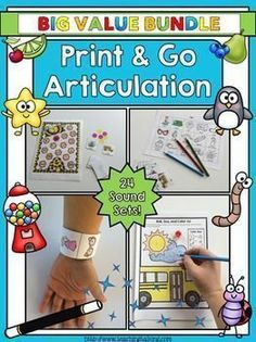 These print and go articulation activities are perfect for working in mixed groups. This speech & language set features worksheets & games to use all year round!