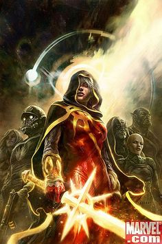 """A cover for the Marvel comic-book """"Annihilation Conquest Ms Marvel, Adam Warlock Marvel, Marvel Heroes, Captain Marvel, Marvel Comics Art, Marvel Comic Books, Comic Book Heroes, Comic Books Art, Comic Art"""