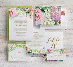 Spring Floral Wedding Invitation Garden Floral Botanical