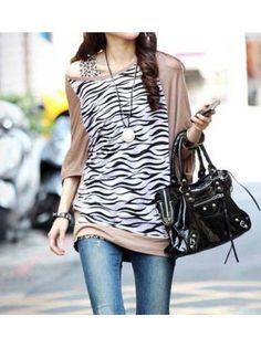 Zebra Batwing Sleeve Loose T-Shirt