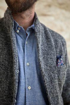 Engineered Garments Grey Homespun Jersey Lined Bedford Jacket - Mens / Arrow & Arrow