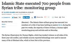 """AUG 16, 2014 - ARTICLE - ISLAMIC STATE - EXECUTION - CIVILIANS - TRAGEDY - """"Tribal powers in Syria and Iraq have had to make the choice between fighting Islamic State or pledging allegiance."""" #Syriainwar"""