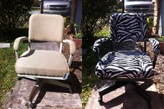 Ugly office or desk chair makeover redo.  $3.93 at the thrift store, now covered with zebra print.  The back is now covered with chalkboard paint!