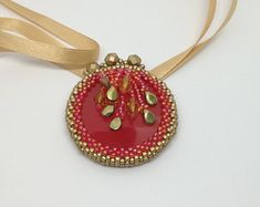 Sunset on the beach Pendant, Red handmade embroidered Pendant by LonkasJewelry