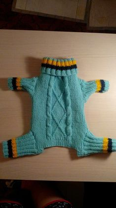 I can just imagine the fight I'd have on my hands if I tried to put this on my girl! Small Dog Coats, Small Dog Clothes, Pet Clothes, Dog Coat Pattern, Cardigan Pattern, Animal Sweater, Crochet Dog Sweater, Dog Pajamas, Pet Dogs