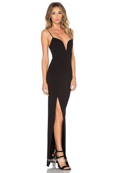 Black Plunging V Neck Sleeveless Sexy Slit Long Evening Dress - Imgur