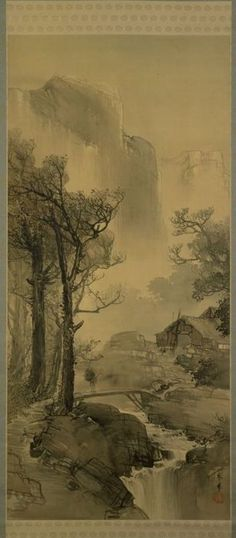 Hazy Mountain Village in the Evening   ca.1900  YAMAMOTO Shunkyo        Japanese ink and color / on silk
