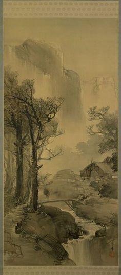 Hazy Mountain Village in the Evening   ca.1900  YAMAMOTO Shunkyo