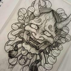 Mascara Samurai Tattoo, Mascara Oni, Samurai Mask Tattoo, Hannya Mask Tattoo, Hanya Tattoo, Demon Tattoo, Japanese Tattoo Designs, Japanese Tattoo Art, Japanese Sleeve Tattoos