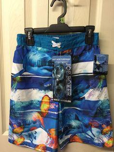 c39ebf683ca1d Joe Boxer Boys Swimwear Blue Size 8 Medium Swim Trunks Fish Theme Goggles  Too #JoeBoxer