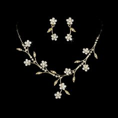 Opentip.com: Elegance by Carbonneau NE363goldclear Beautiful Floral Gold Clear Jewelry Set NE 363