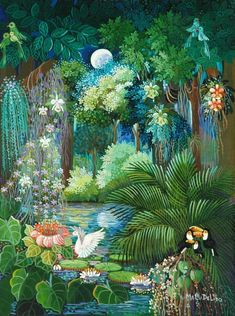 By Malu Delibo (Brazilian) Jungle Art, Haitian Art, Tropical Art, Naive Art, Bird Art, Wall Murals, Fantasy Art, Illustration Art, Illustrations