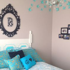 Tween bedroom....i really like the refurb old mirror frame and inital...its a must do....