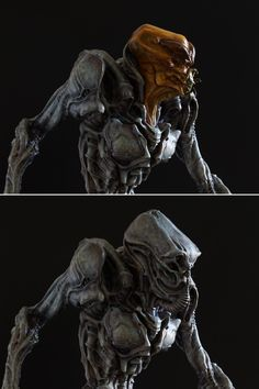 Alien Pilot is a full figure resin kit cast in 9 parts in grey resin. It is 9 inches (38 cm) tall and has magnetic switch out head and helmet options. Paint sample by Rick Cantu. Kits are sold unpaint