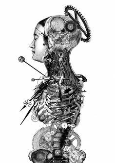 """""""The Timenauts"""" - Paula Braconnot {mechanical human torso anatomy drawing}"""