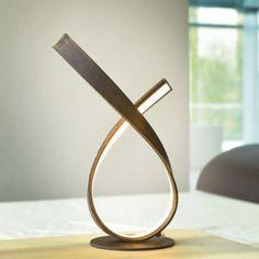 Lampe à poser LED marron doré vieilli Roseau très lumineuse 550 lumen - 129,90€