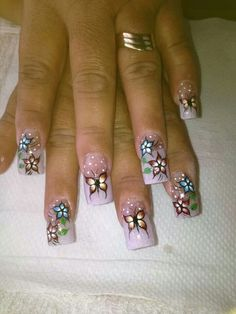 Mariposas Nail Tip Designs, Colorful Nail Designs, Wow Nails, Pretty Nails, Elegant Nail Art, Nail Care Tips, Fancy Nails, Nail Decorations, Flower Nails
