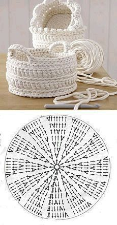 Handmade: Crochet baskets - 37 designs and . - DIY Handmade: Crochet baskets - 37 designs and . -DIY Handmade: Crochet baskets - 37 designs and . - DIY Handmade: Crochet baskets - 37 designs and . Crochet Bowl, Crochet Basket Pattern, Crochet Chart, Free Crochet, Knit Crochet, Crochet Baskets, Crocheted Bags, Crochet Potholders, Crochet Mandala