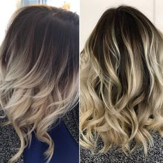 Rooted balayage blonde. Ash blonde hair dark roots. Beach waves. Undone. Textured lob. More