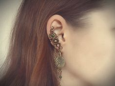 Handmade in Slovenia... Bronze Ear Cuff, Cartilage Earring, Unique earrings With Chains, Leaf Charm, Gemstone earcuff, Beadwork earring, Floral cuff £18.48