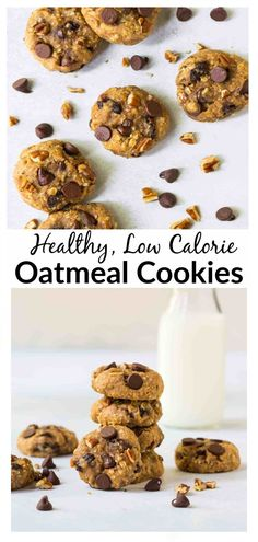 Soft and chewy healthy oatmeal cookies with applesauce, honey, raisins, and chocolate chips. No sugar! The best healthy cookie recipe. Healthy Sweet Snacks, Healthy Cookie Recipes, Healthy Cookies, Eating Healthy, Snack Recipes, Clean Eating, Healthy Baking, Baking Recipes, Oatmeal Applesauce Cookies