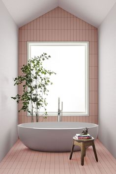 Ceramics of Italy Has Released Their Spring-Summer Tile Trends Skinny format tiles offer the perfect opportunity to create a playful composition ModernTiles SkinnyTiles TileDesign PinkTiles Interior Ikea, Bathroom Interior Design, Interior Decorating, Decorating Ideas, Small Home Interior Design, Decorating Bathrooms, Simple Interior, Decorating Websites, Interior Paint