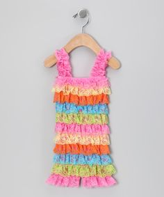 Look what I found on #zulily! Rainbow Ruffle Romper - Infant by Frilly Goose #zulilyfinds