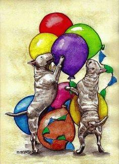 Bull Terrier art. Two Bull Terriers and balloons