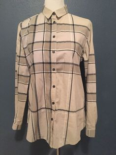Burberry Brit Womens plaid blouse shirt top dress trench coat, SIZE MEDIUM  #Burberry #Blouse #Casual