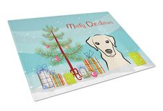 Christmas Tree and Yellow Labrador Glass Cutting Board Large BB1594LCB