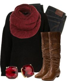 """Black, Brown, & Crimson"" by qtpiekelso on Polyvore"