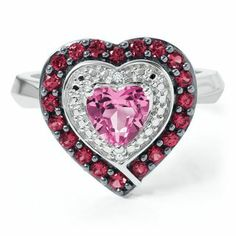 Lab-Created Pink Sapphire & Ruby Ring in Sterling Silver - Rings - Clearance - Helzberg Diamonds